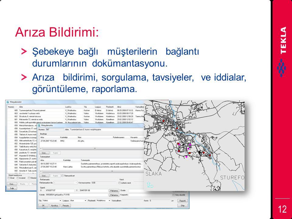 Arıza Bildirimi: Şebekeye bağlı müşterilerin bağlantı durumlarının dokümantasyonu.
