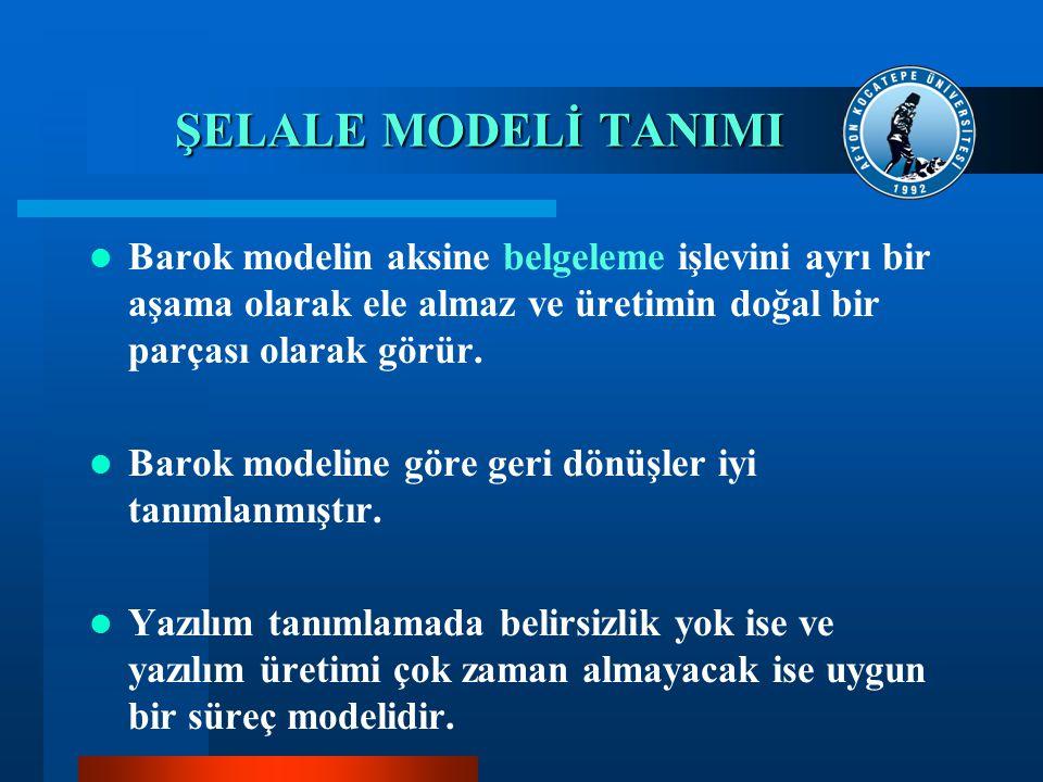 ŞELALE MODELİ TANIMI Barok modelin aksine belgeleme işlevini ayrı bir aşama olarak ele almaz ve üretimin doğal bir parçası olarak görür.
