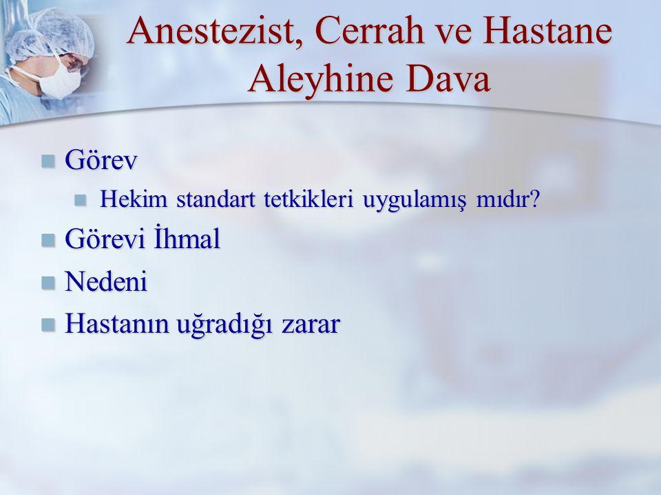 Anestezist, Cerrah ve Hastane Aleyhine Dava