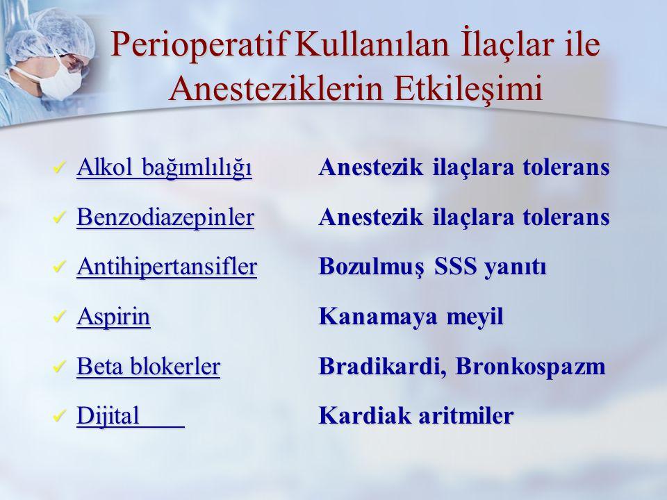 Perioperatif Kullanılan İlaçlar ile Anesteziklerin Etkileşimi