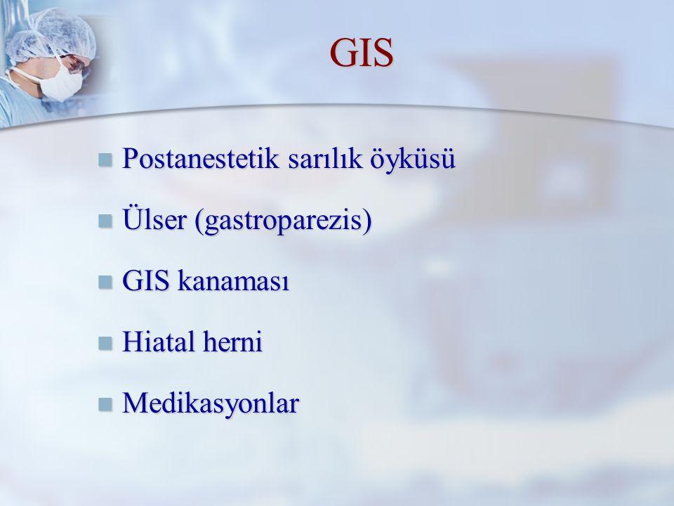 GIS Postanestetik sarılık öyküsü Ülser (gastroparezis) GIS kanaması