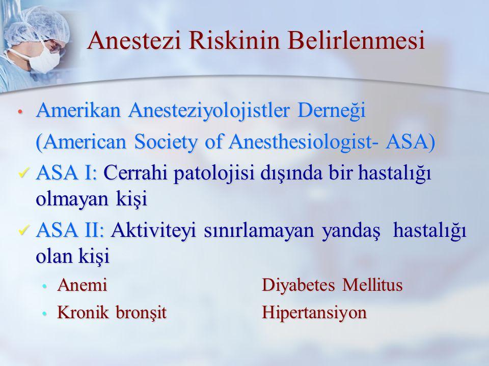 Anestezi Riskinin Belirlenmesi