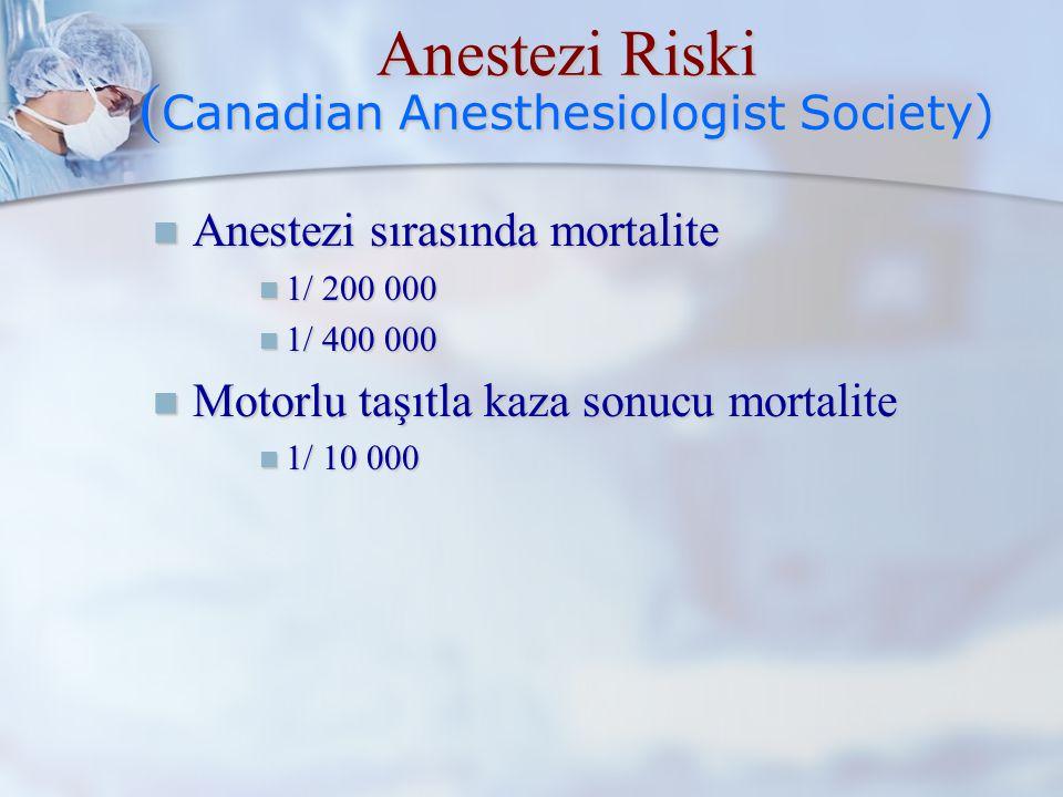 Anestezi Riski (Canadian Anesthesiologist Society)