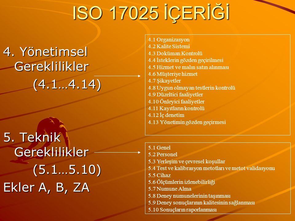ISO 17025 İÇERİĞİ 4. Yönetimsel Gereklilikler (4.1…4.14)