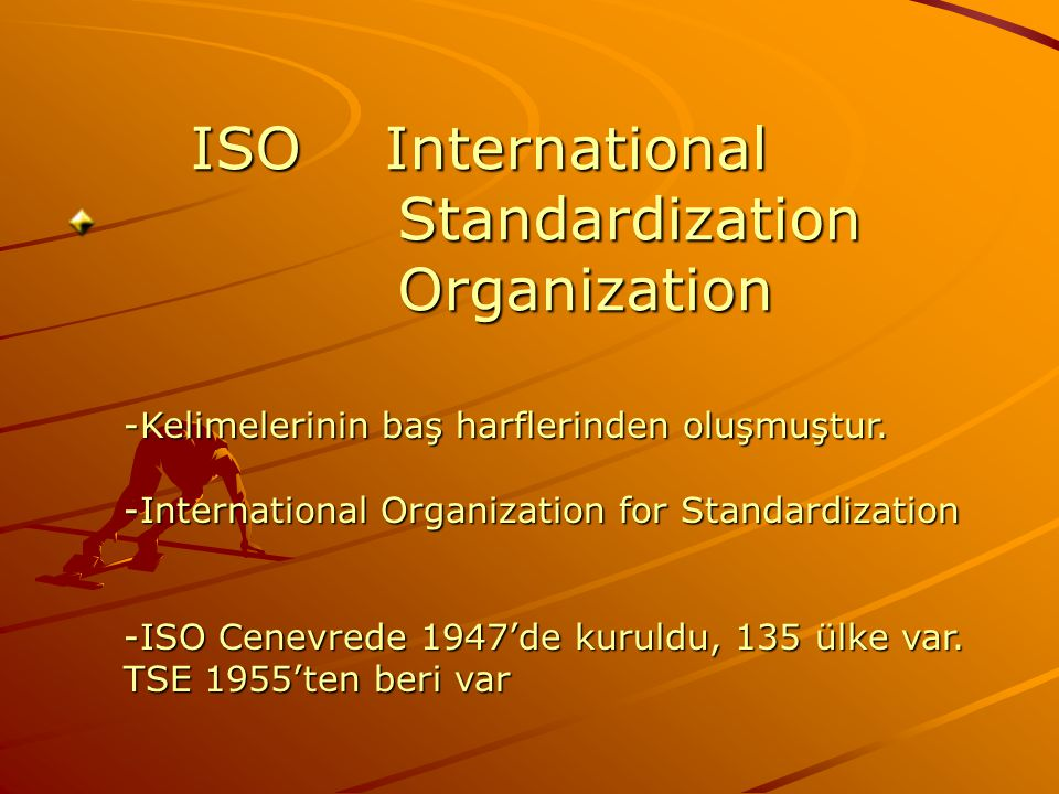 ISO International Standardization Organization