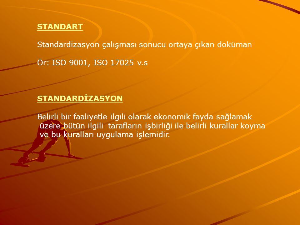 STANDART Standardizasyon çalışması sonucu ortaya çıkan doküman. Ör: ISO 9001, ISO 17025 v.s. STANDARDİZASYON.