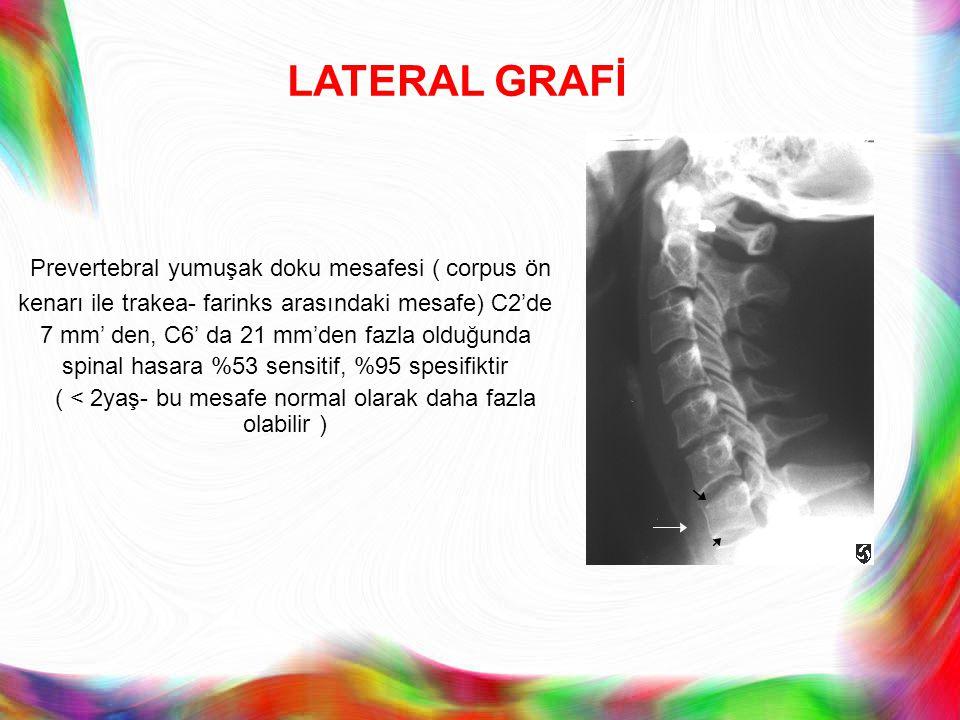 LATERAL GRAFİ Prevertebral yumuşak doku mesafesi ( corpus ön