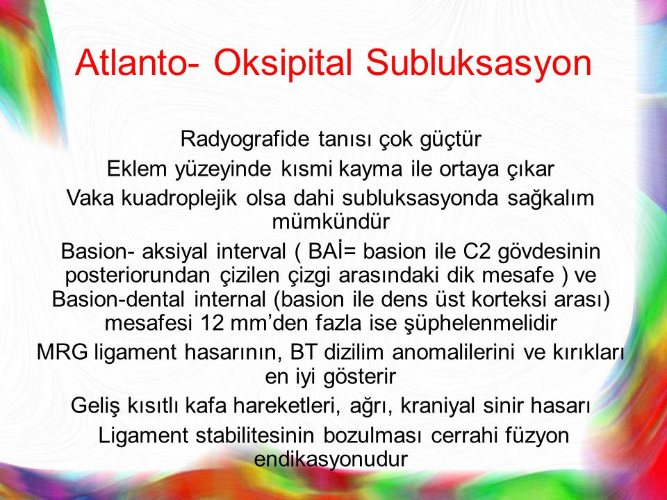 Atlanto- Oksipital Subluksasyon