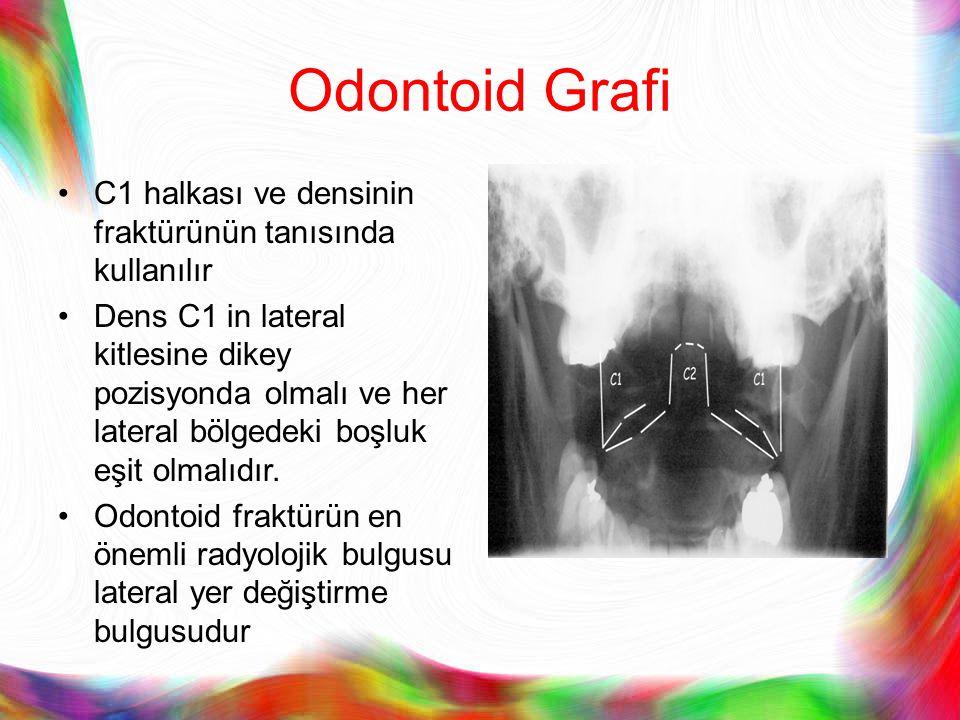 Odontoid Grafi C1 halkası ve densinin fraktürünün tanısında kullanılır