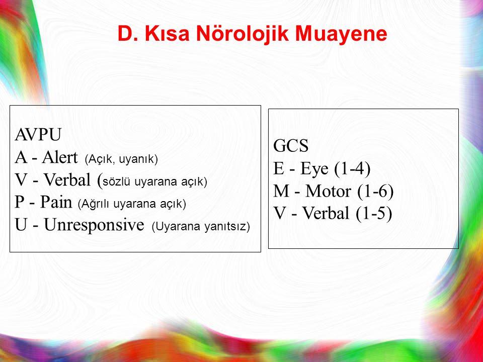 D. Kısa Nörolojik Muayene