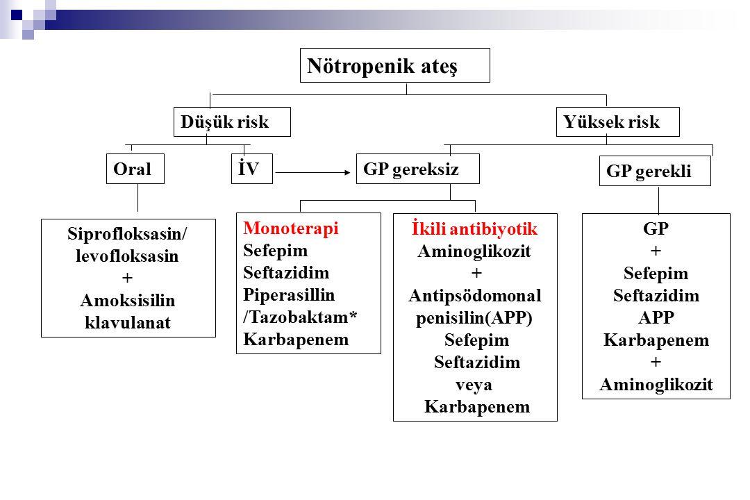 Nötropenik ateş Düşük risk Yüksek risk Oral İV GP gereksiz GP gerekli
