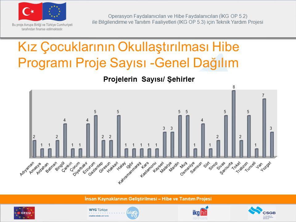 Kız Çocuklarının Okullaştırılması Hibe Programı Proje Sayısı -Genel Dağılım