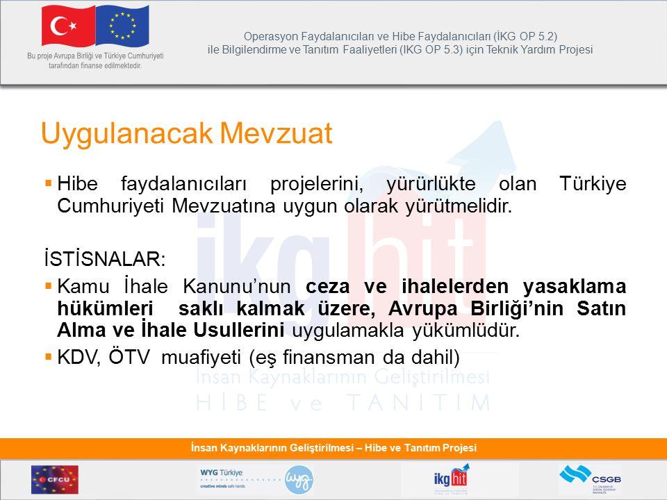 Uygulanacak Mevzuat Hibe faydalanıcıları projelerini, yürürlükte olan Türkiye Cumhuriyeti Mevzuatına uygun olarak yürütmelidir.