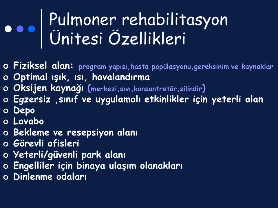 Pulmoner rehabilitasyon Ünitesi Özellikleri