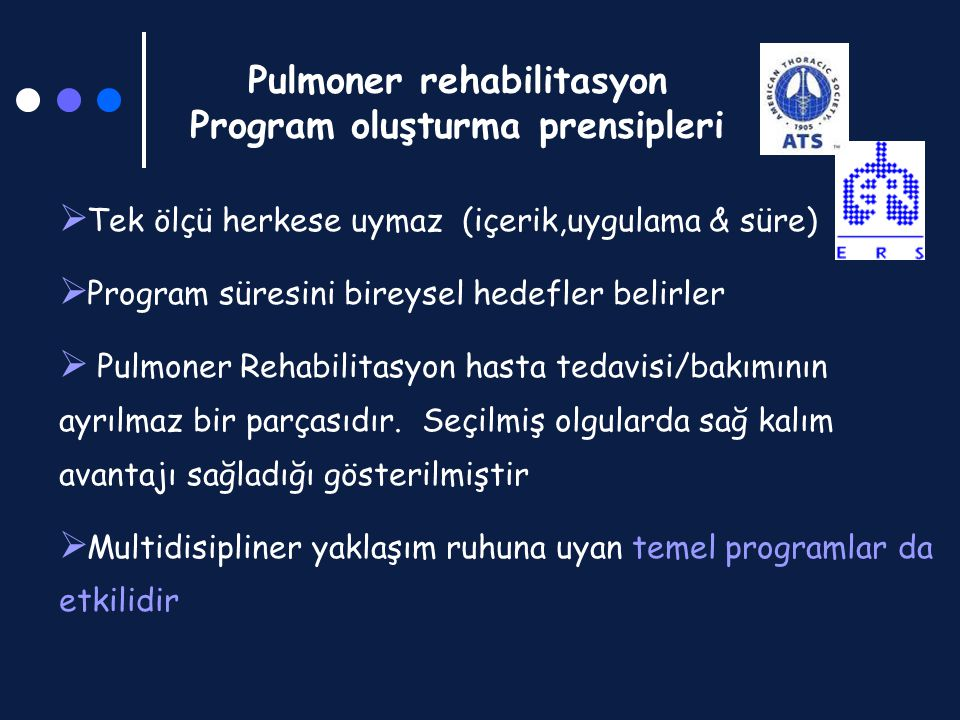 Pulmoner rehabilitasyon Program oluşturma prensipleri