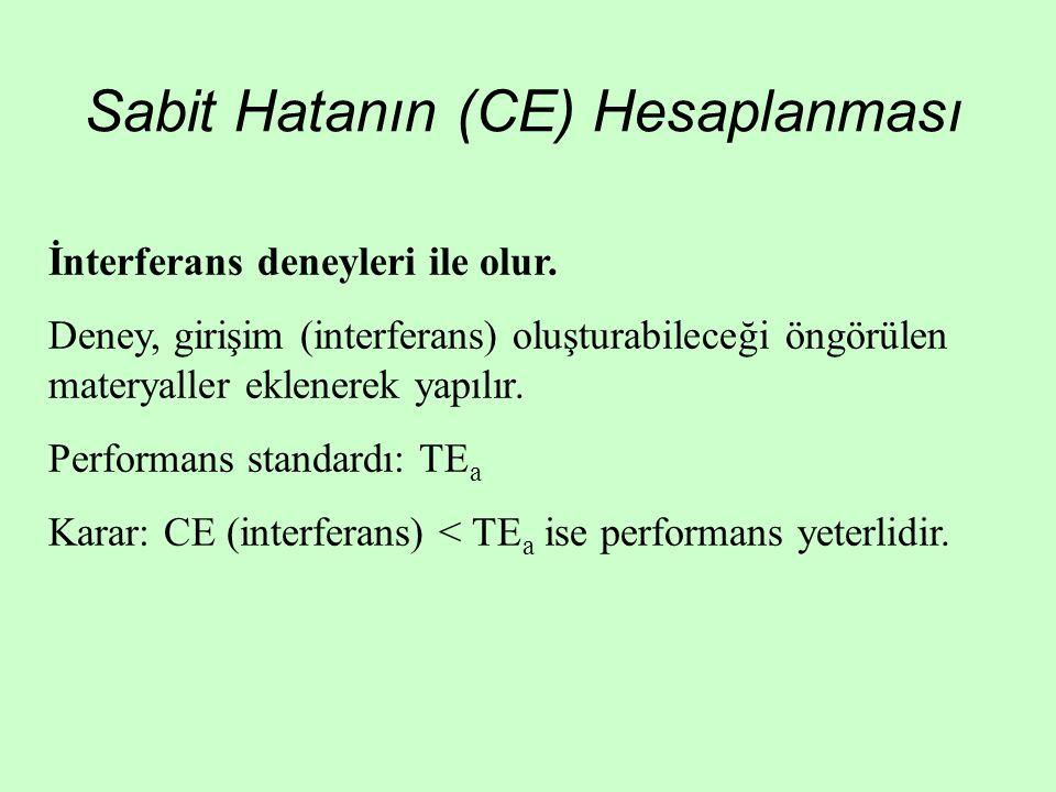Sabit Hatanın (CE) Hesaplanması
