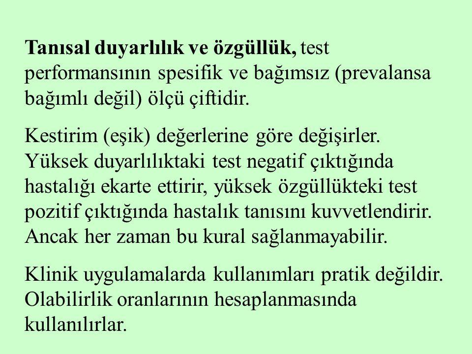 Tanısal duyarlılık ve özgüllük, test performansının spesifik ve bağımsız (prevalansa bağımlı değil) ölçü çiftidir.