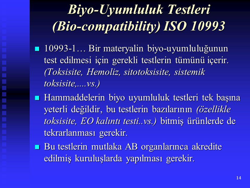 Biyo-Uyumluluk Testleri (Bio-compatibility) ISO 10993