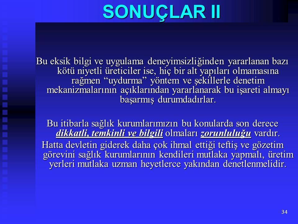 SONUÇLAR II