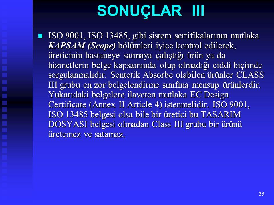 SONUÇLAR III