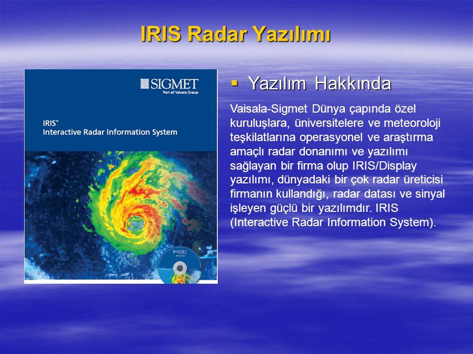 IRIS Radar Yazılımı Yazılım Hakkında