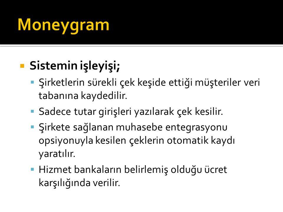 Moneygram Sistemin işleyişi;
