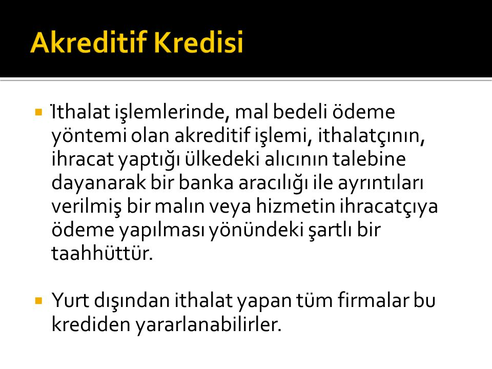 Akreditif Kredisi