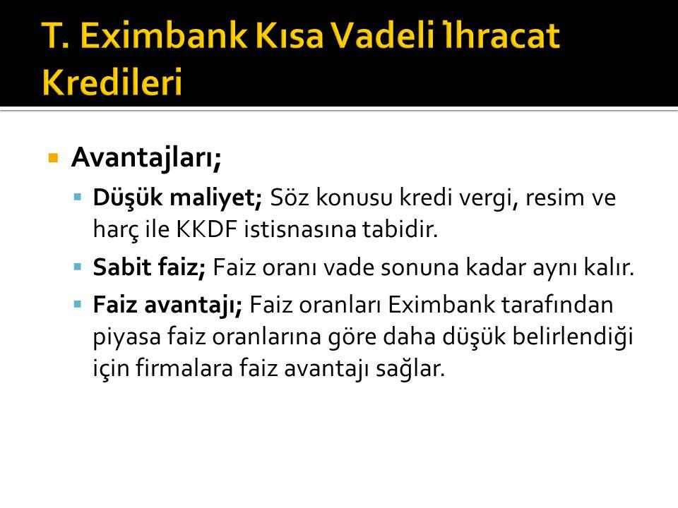 T. Eximbank Kısa Vadeli İhracat Kredileri