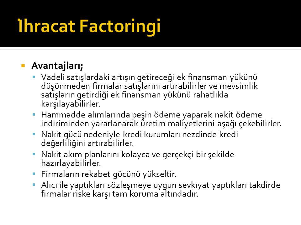 İhracat Factoringi Avantajları;