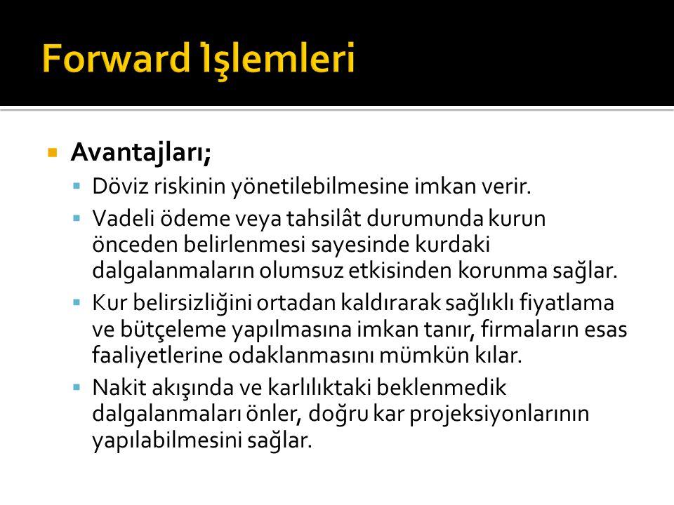 Forward İşlemleri Avantajları;