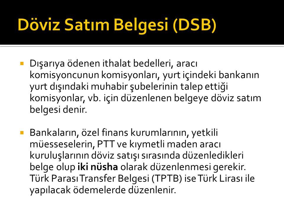 Döviz Satım Belgesi (DSB)