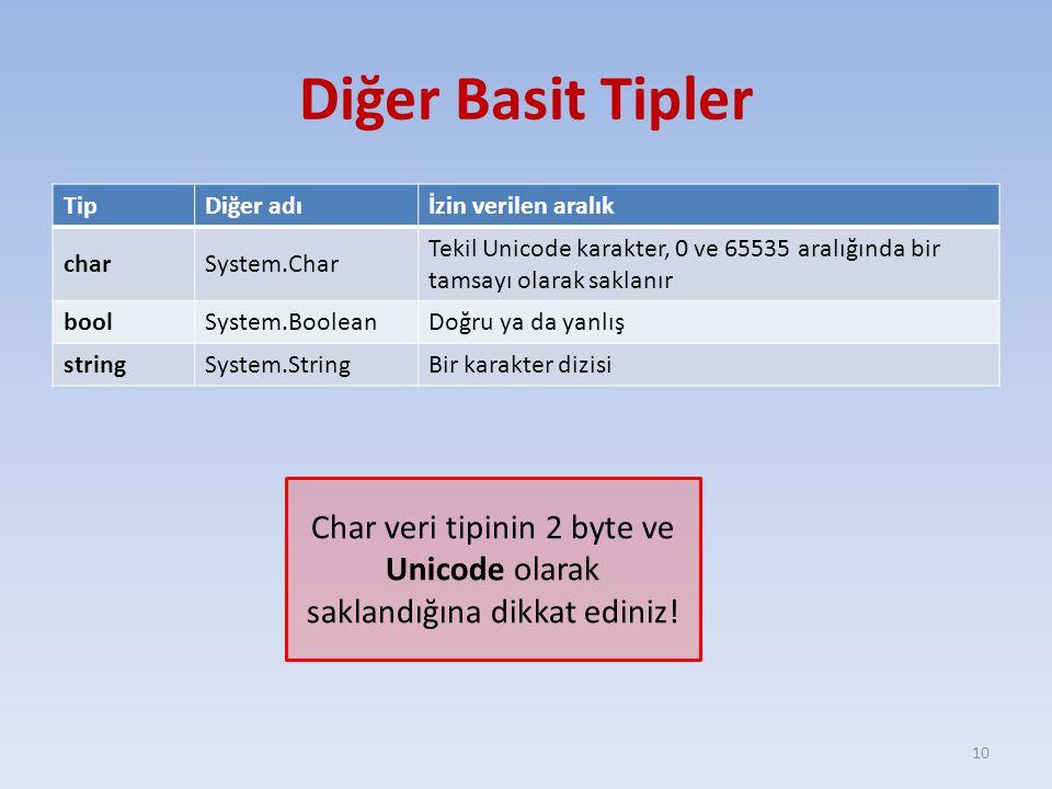 Char veri tipinin 2 byte ve Unicode olarak saklandığına dikkat ediniz!