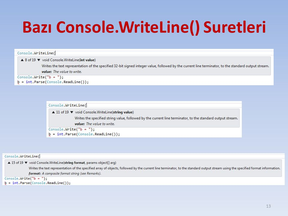 Bazı Console.WriteLine() Suretleri