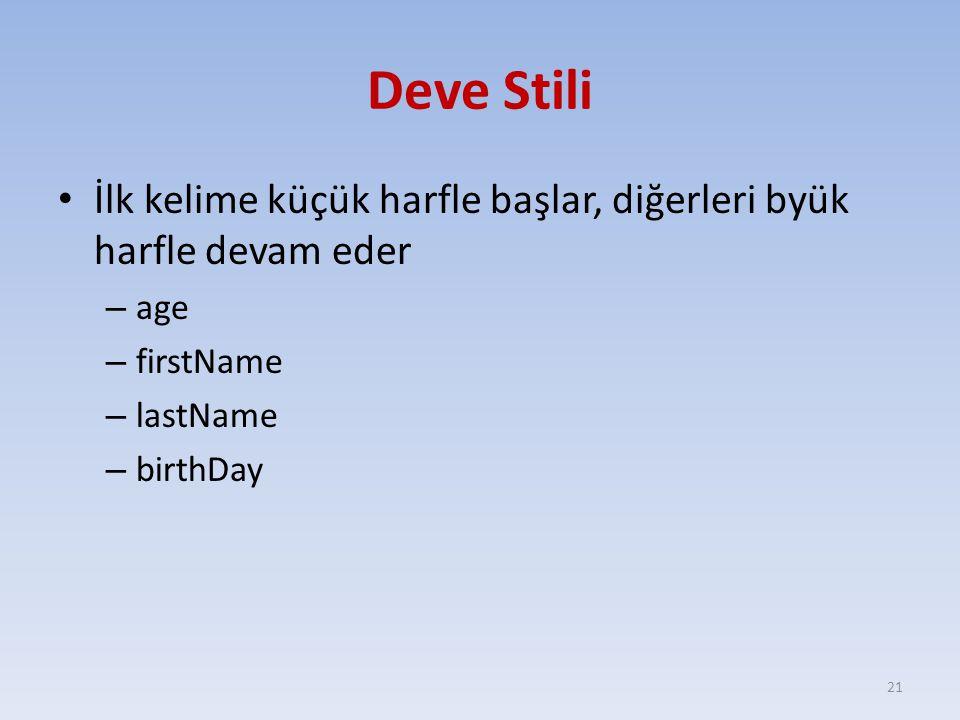 Deve Stili İlk kelime küçük harfle başlar, diğerleri byük harfle devam eder. age. firstName. lastName.