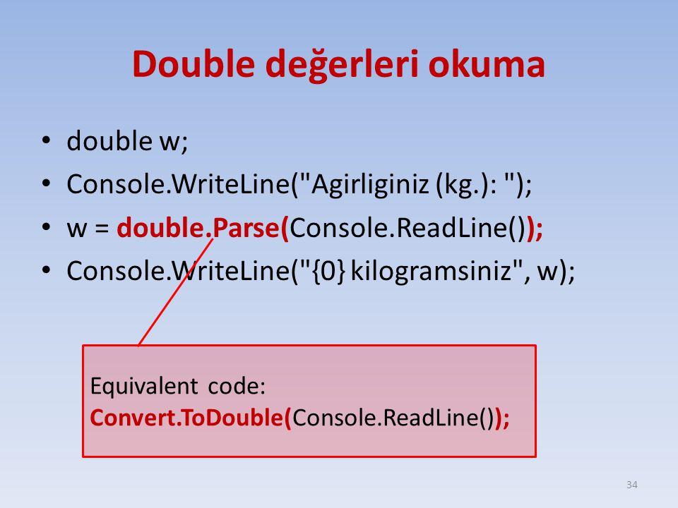 Double değerleri okuma