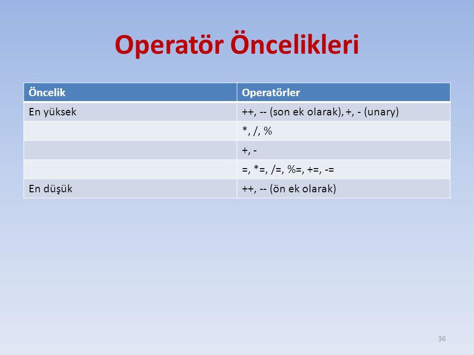 Operatör Öncelikleri Öncelik Operatörler En yüksek