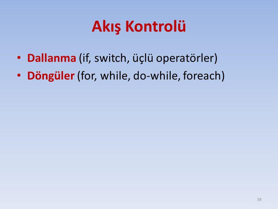 Akış Kontrolü Dallanma (if, switch, üçlü operatörler)