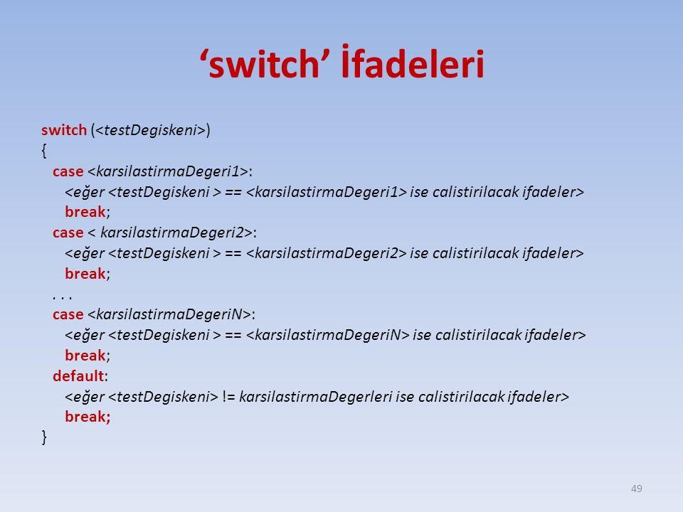 'switch' İfadeleri