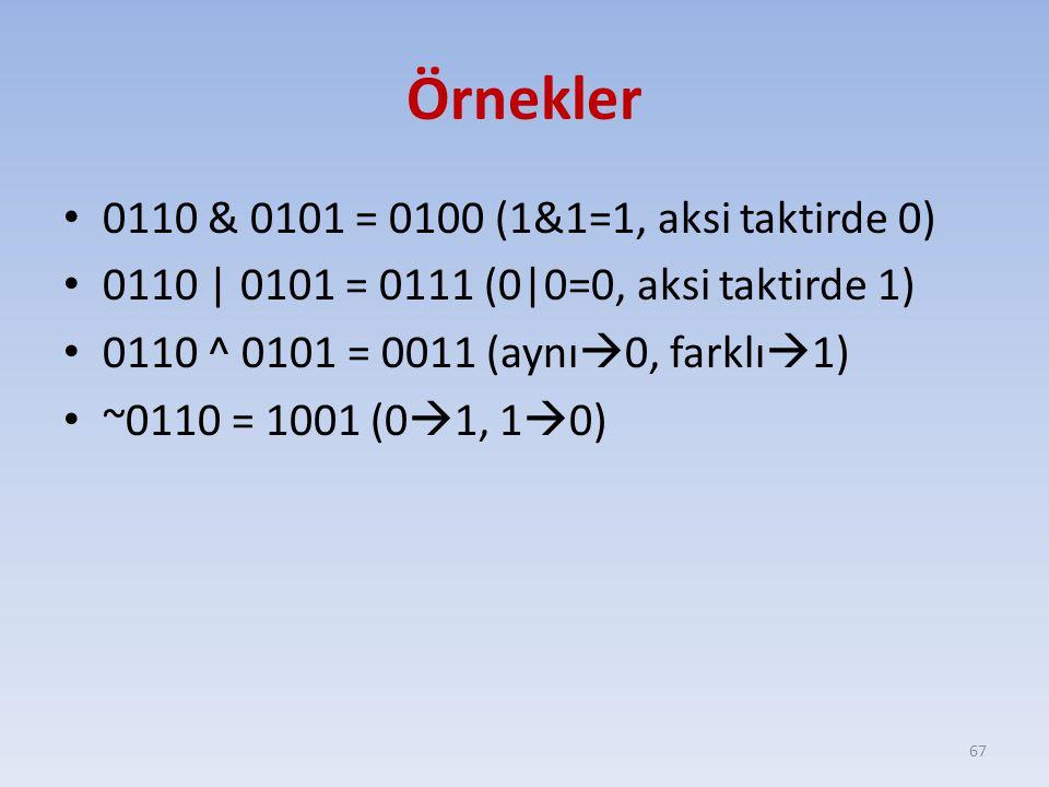 Örnekler 0110 & 0101 = 0100 (1&1=1, aksi taktirde 0)