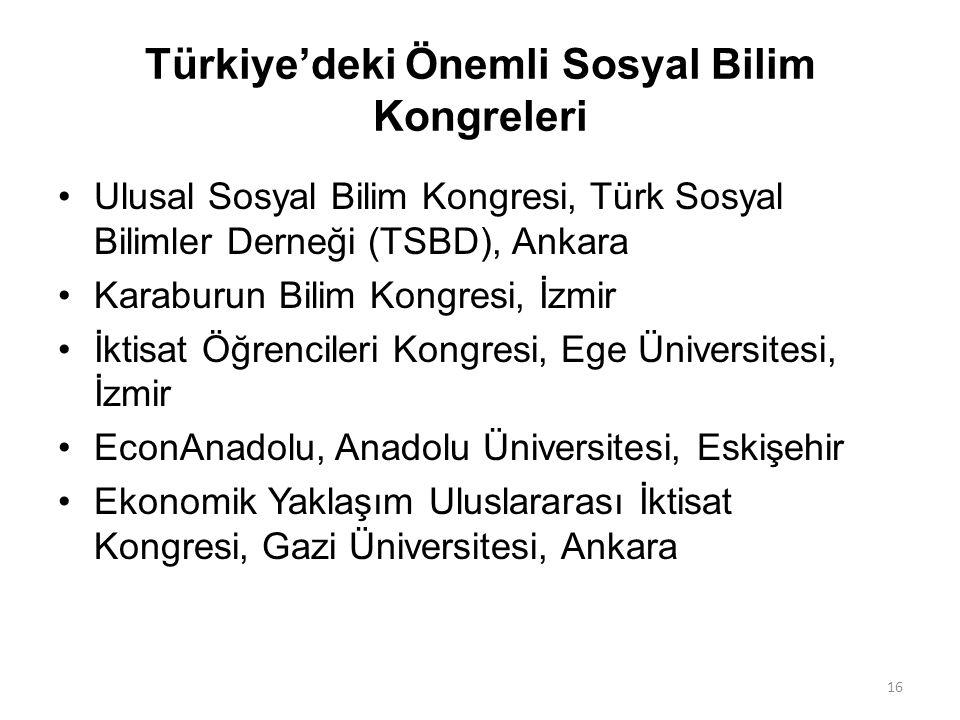 Türkiye'deki Önemli Sosyal Bilim Kongreleri