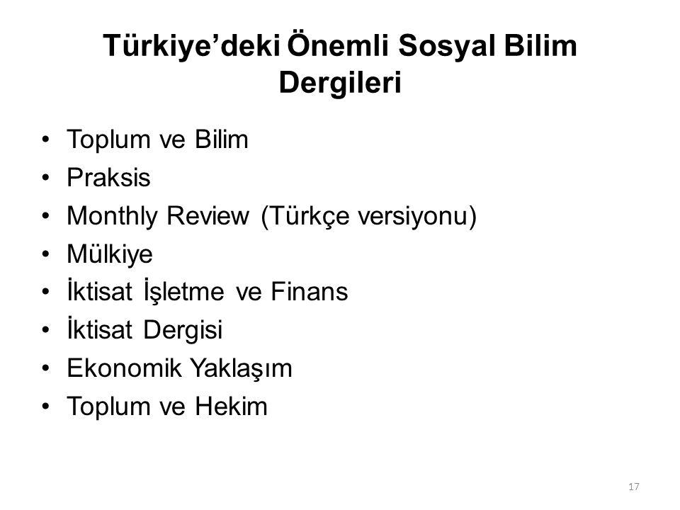 Türkiye'deki Önemli Sosyal Bilim Dergileri