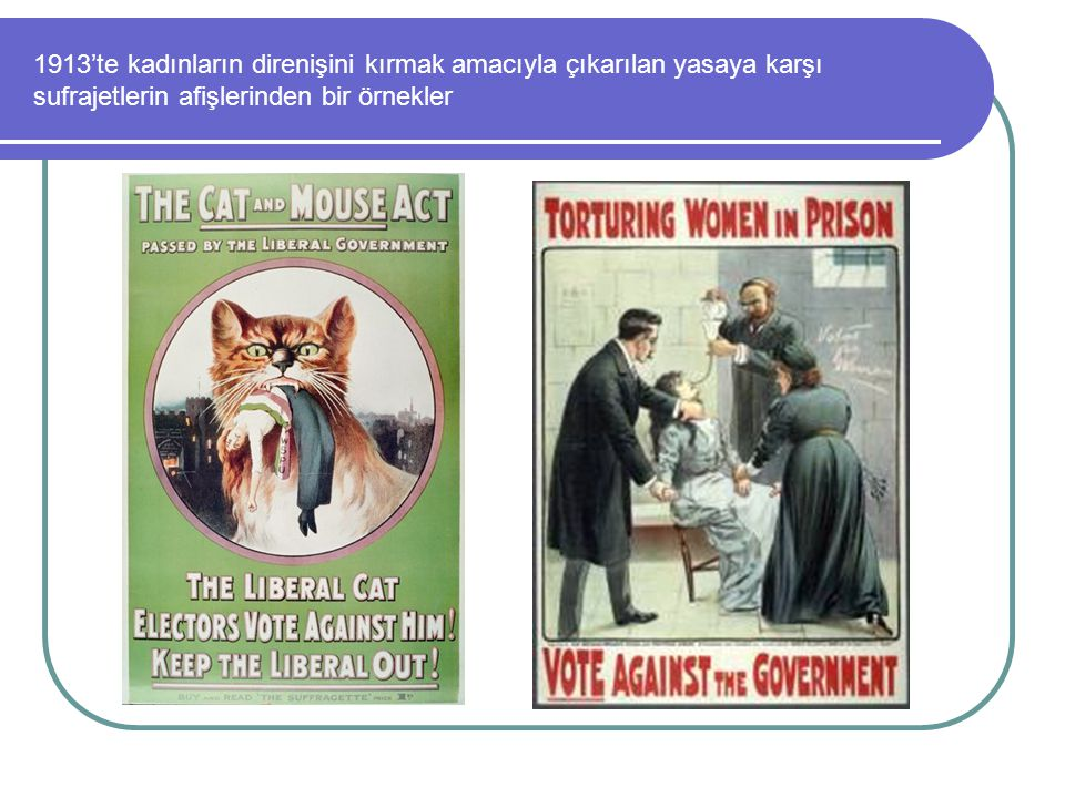 1913'te kadınların direnişini kırmak amacıyla çıkarılan yasaya karşı sufrajetlerin afişlerinden bir örnekler