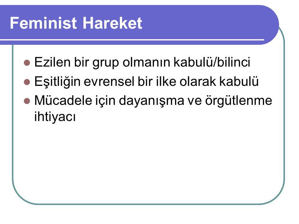 Feminist Hareket Ezilen bir grup olmanın kabulü/bilinci