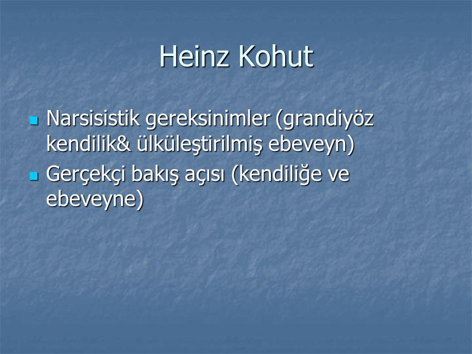 Heinz Kohut Narsisistik gereksinimler (grandiyöz kendilik& ülküleştirilmiş ebeveyn) Gerçekçi bakış açısı (kendiliğe ve ebeveyne)