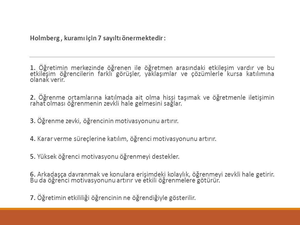 Holmberg , kuramı için 7 sayıltı önermektedir :