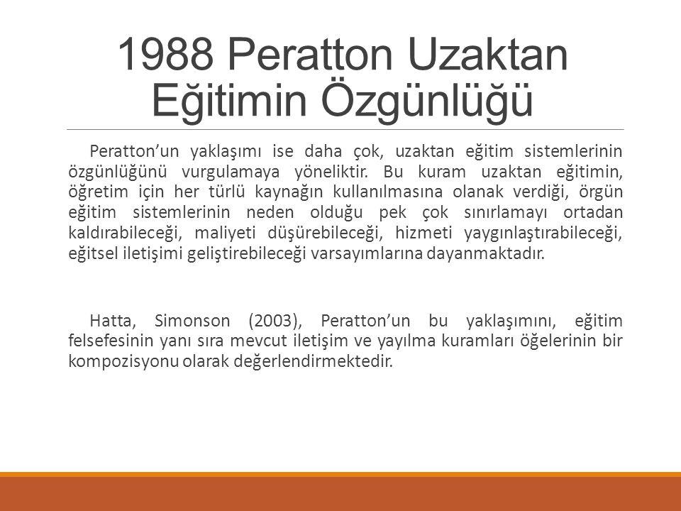 1988 Peratton Uzaktan Eğitimin Özgünlüğü