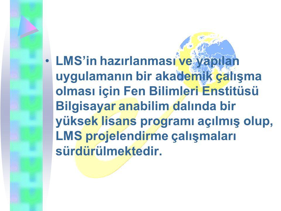 LMS'in hazırlanması ve yapılan uygulamanın bir akademik çalışma olması için Fen Bilimleri Enstitüsü Bilgisayar anabilim dalında bir yüksek lisans programı açılmış olup, LMS projelendirme çalışmaları sürdürülmektedir.