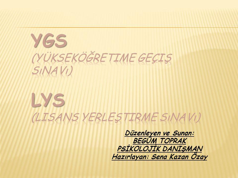 YGS (Yükseköğretime Geçiş Sınavı) LYS (Lisans Yerleştirme Sınavı)