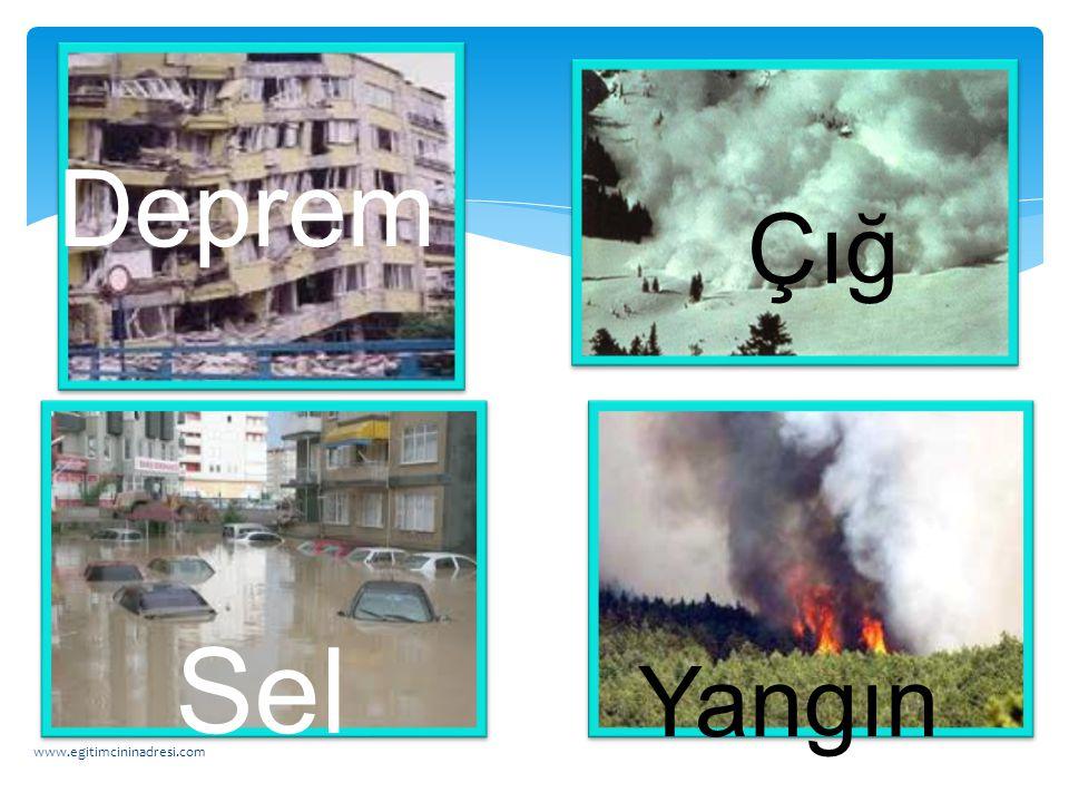 Deprem Çığ Sel Yangın www.egitimcininadresi.com