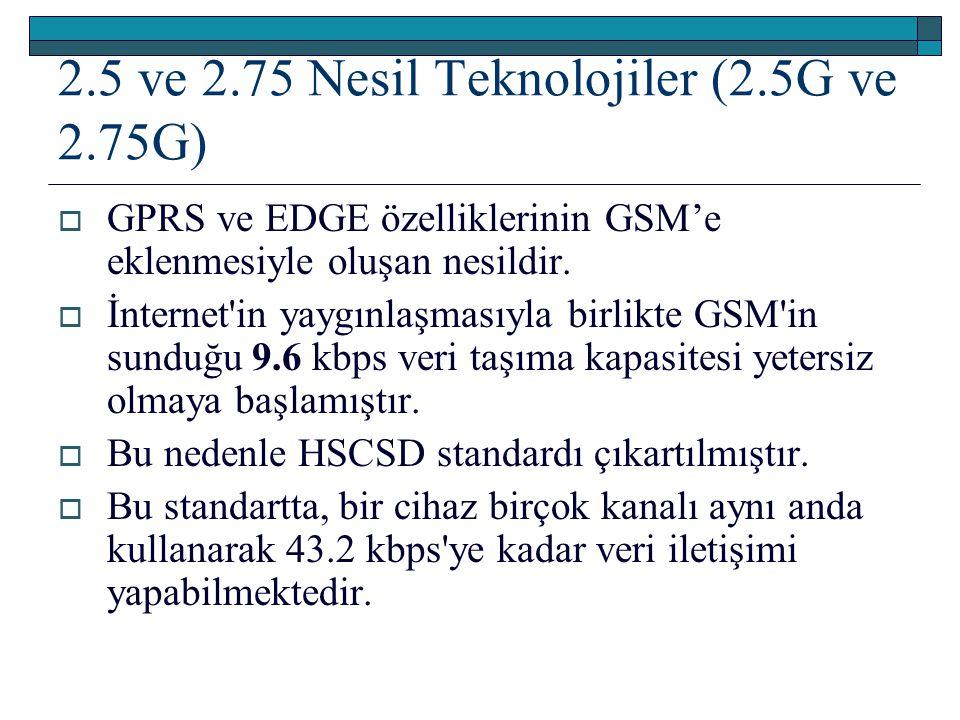2.5 ve 2.75 Nesil Teknolojiler (2.5G ve 2.75G)